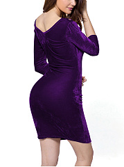 Sexy Hollow Out Solid Velvet Mini Bodycon Dress