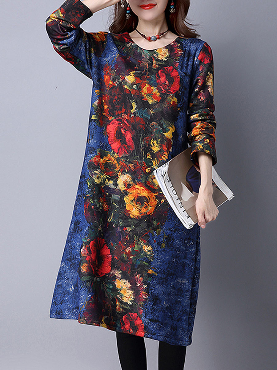 Colorful Printed Fleece Lined Round Neck Maxi Dress