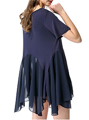 Round Neck  Asymmetric Hem Patchwork  Plain Skater Dress