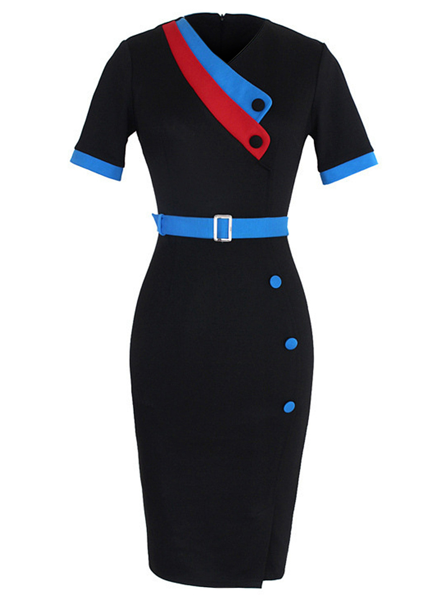 V-Neck Belt Decorative Button Color Block Bodycon Dress