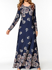 Round Neck  Printed Fitted  Maxi Dress