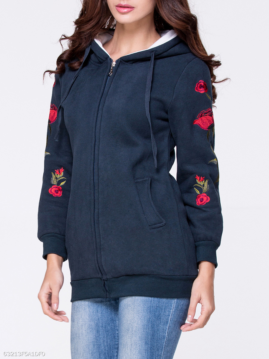 Hooded Embroidery Pocket Longline Coat