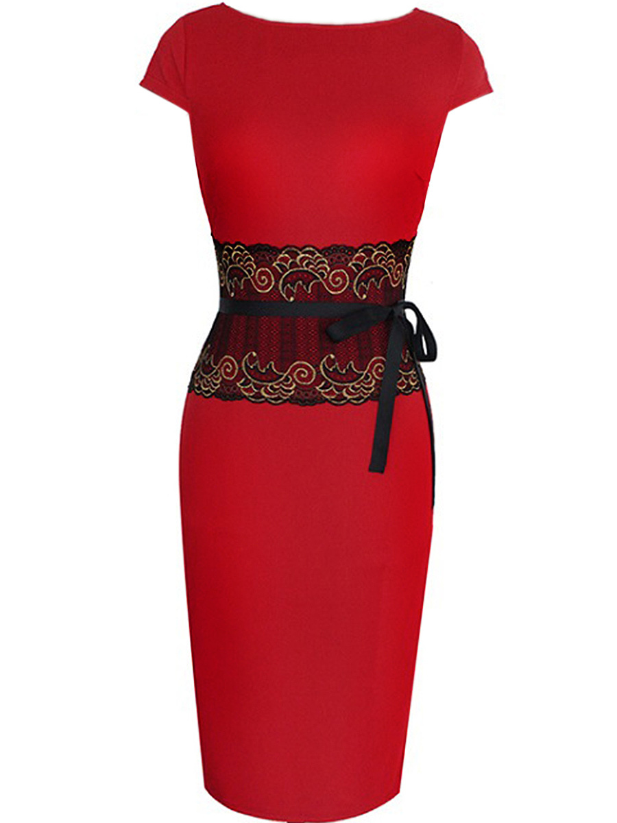 Round Neck Decorative Lace Belt Bodycon Dress