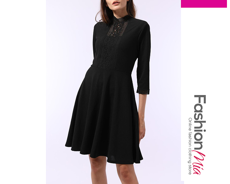 thickness:regular, brand_name:fashionmia, style:elegant*fashion, material:polyester, collar&neckline:round neck, sleeve:three-quarter sleeve, pattern_type:lace, length:knee-length, how_to_wash:cold  hand wash, supplementary_matters:all dimensions are measured manually with a deviation of 2 to 4cm., occasion:date*office*semi-formal*vacation, dress_silhouette:flared, package_included:dress*1, length:93,bust:86,