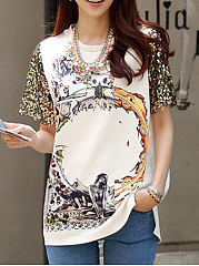 Summer  Polyester  Women  Round Neck  Printed Short Sleeve T-Shirts