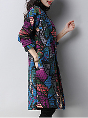 Collarless  Single Breasted  Abstract Print  Long Sleeve Coats