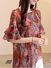 Spring Summer  Chiffon  Women  Round Neck  Leaf Floral Printed  Bell Sleeve  Half Sleeve Blouses