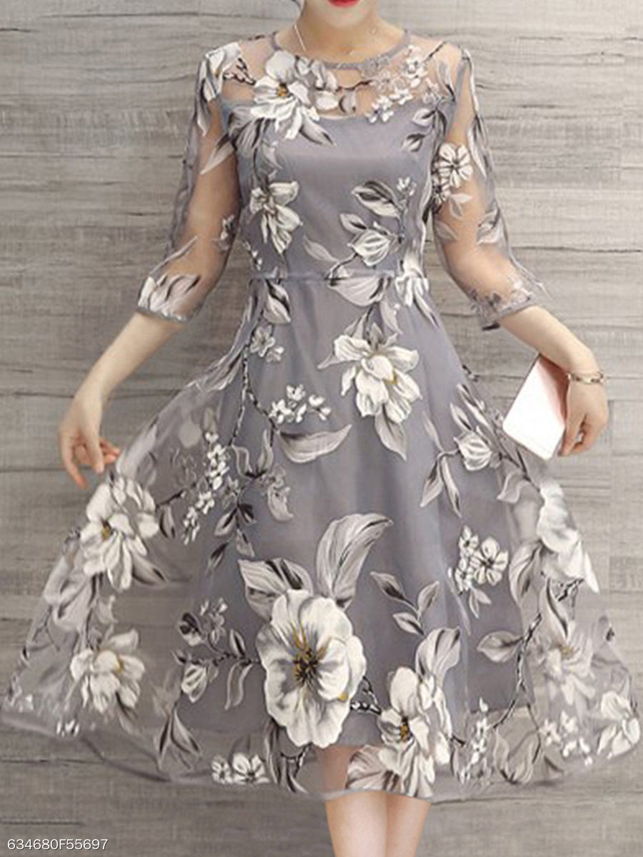 Floral Printed See-Through Midi Skater Dress