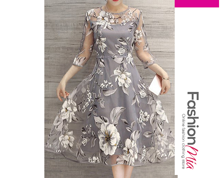 Floral Printed See-Through Midi Skater Dress - $24.95