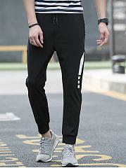 Zips-Pocket-Color-Block-Slim-Leg-Mens-Casual-Pants