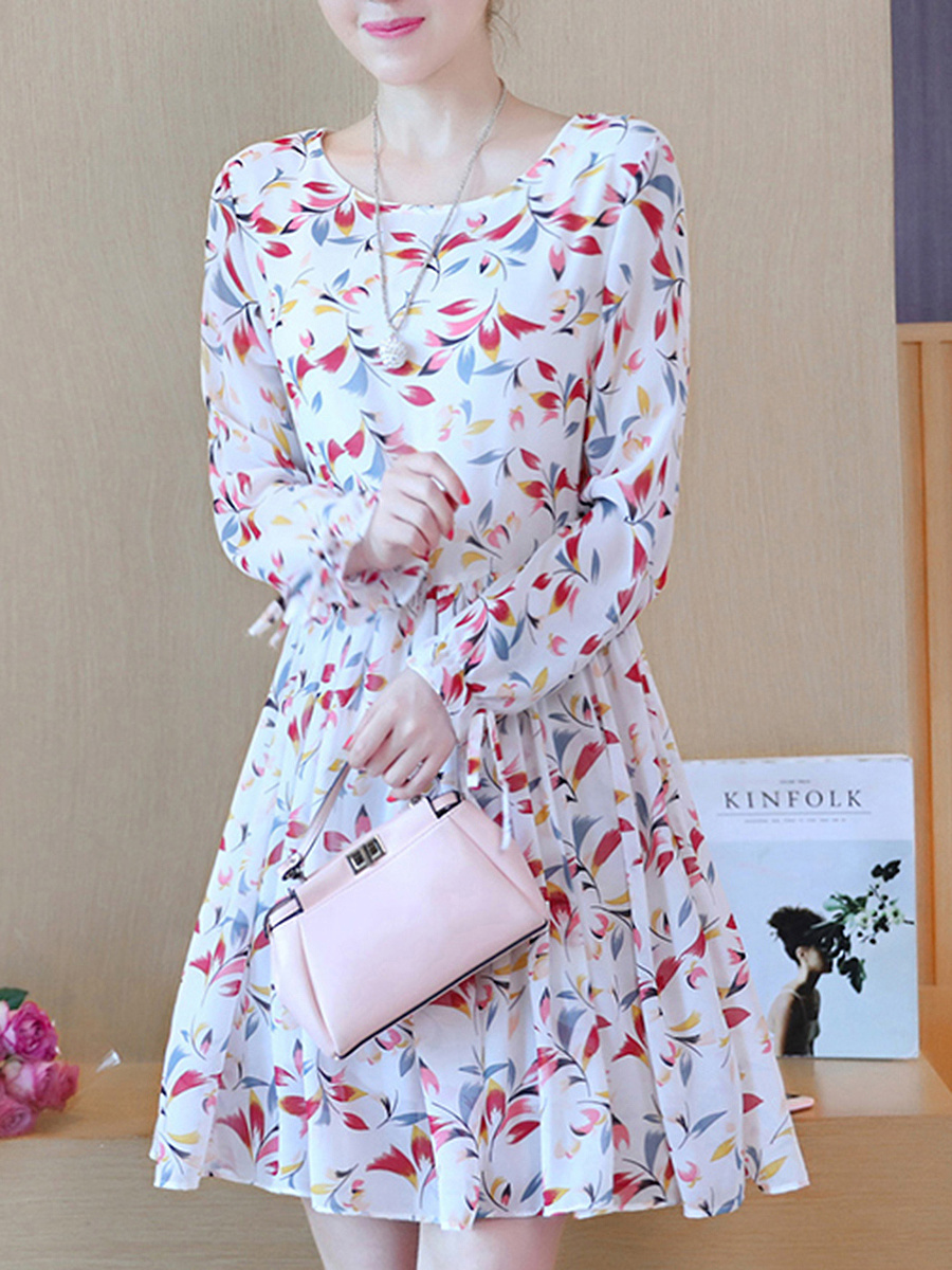 Round Neck Printed Necklace Chiffon Skater Dress