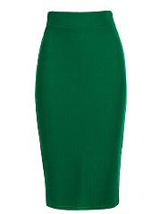 Elegant-Plain-Slit-Pencil-Midi-Skirt