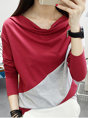 Autumn Spring  Polyester  Women  Cowl Neck  Color Block Long Sleeve T-Shirts