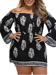 Open Shoulder  Abstract Print Plus Size Bodycon Dress