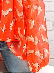 Summer  Chiffon Cotton  Women  Open Shoulder  Printed  Long Sleeve Blouses