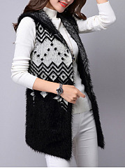 Hooded-Patch-Pocket-Sleeveless-Cardigans