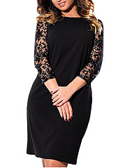 Square Neck  Decorative Lace  Plain Plus Size Bodycon Dress