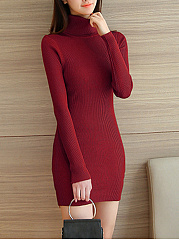 Turtleneck Plain Knitted Mini Bodycon Dress