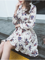 V-Neck  Decorative Button  Floral Skater Dress