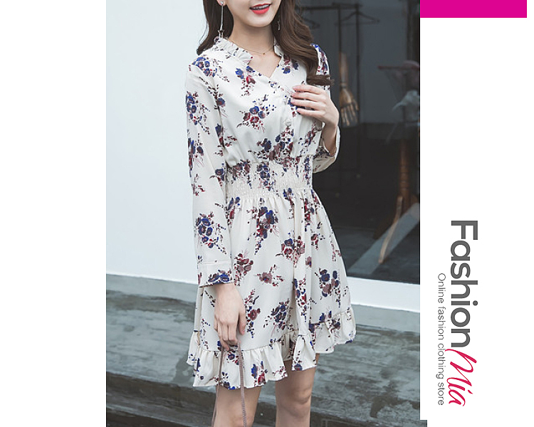 style:fashion, material:polyester, collar&neckline:v-neck, sleeve:long sleeve, more_details:decorative button, pattern_type:floral, length:thigh-length, how_to_wash:cold  hand wash, supplementary_matters:all dimensions are measured manually with a deviation of 2 to 4cm., occasion:date, dress_silhouette:flared, package_included:dress*1, lengthsleeve lengthbust