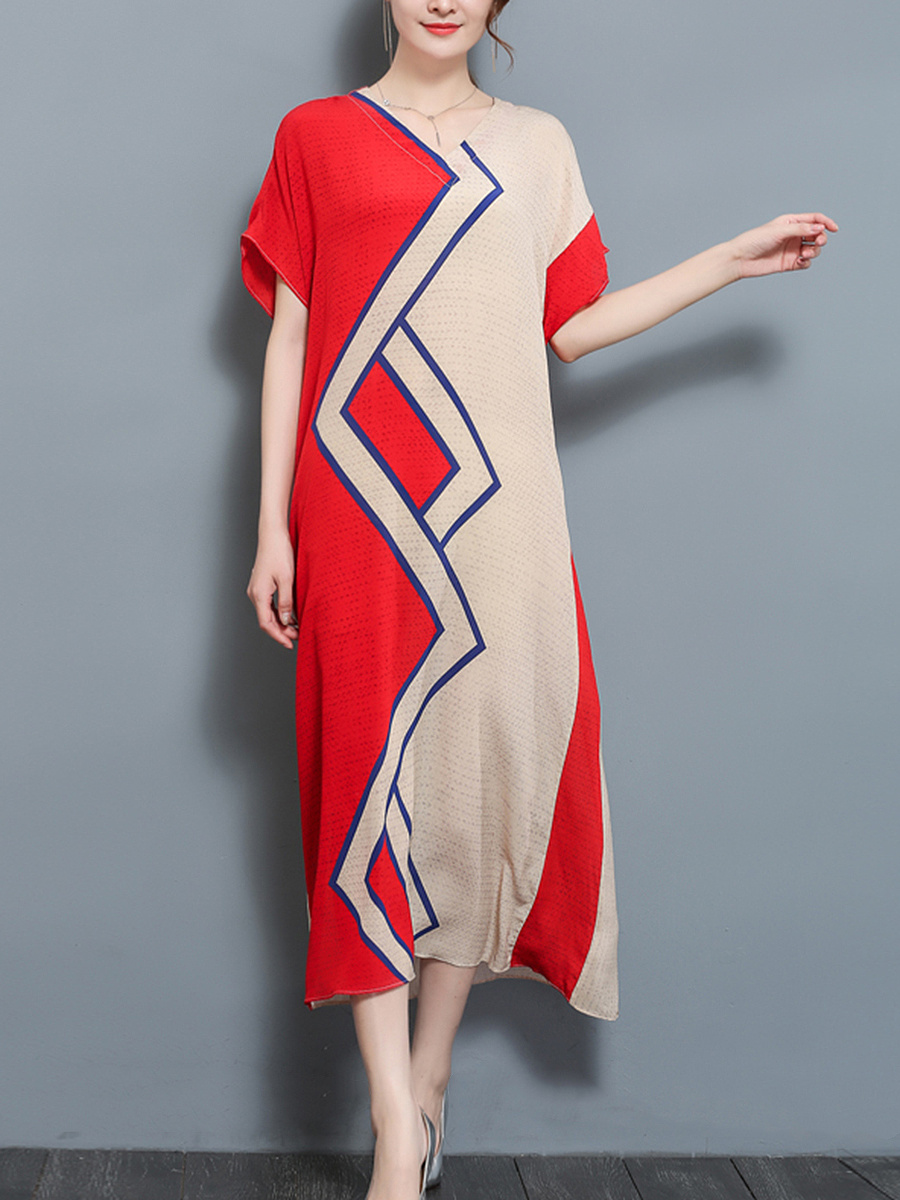 Casual Round Neck Color Block Pocket Maxi Dress