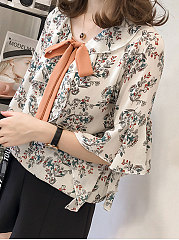 Summer  Chiffon  Women  Tie Collar  Flounce  Floral Printed  Bell Sleeve  Three-Quarter Sleeve Blouses