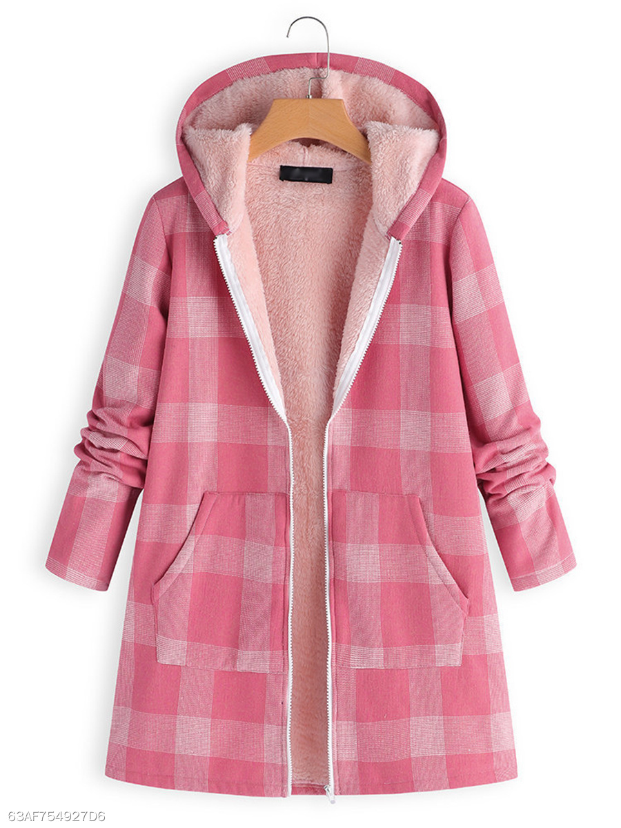 Hooded  Slit Pocket Zips  Plaid  Long Sleeve Outerwear