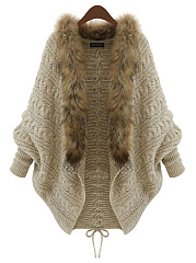 Faux Fur Collar Lace-Up Batwing Sleeve Cardigan