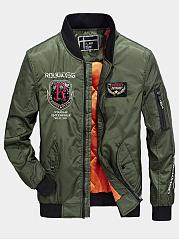 Band-Collar-Flap-Pocket-Badge-Embroidery-Men-Bomber-Jacket