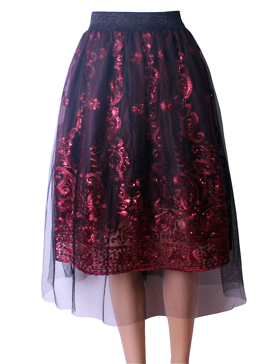 Glitter Embroidery Hollow Out Flared Midi Skirt