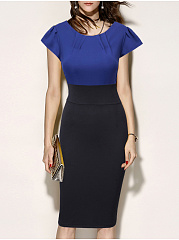 Round Neck  Slit  Color Block Colouring Bodycon Dress