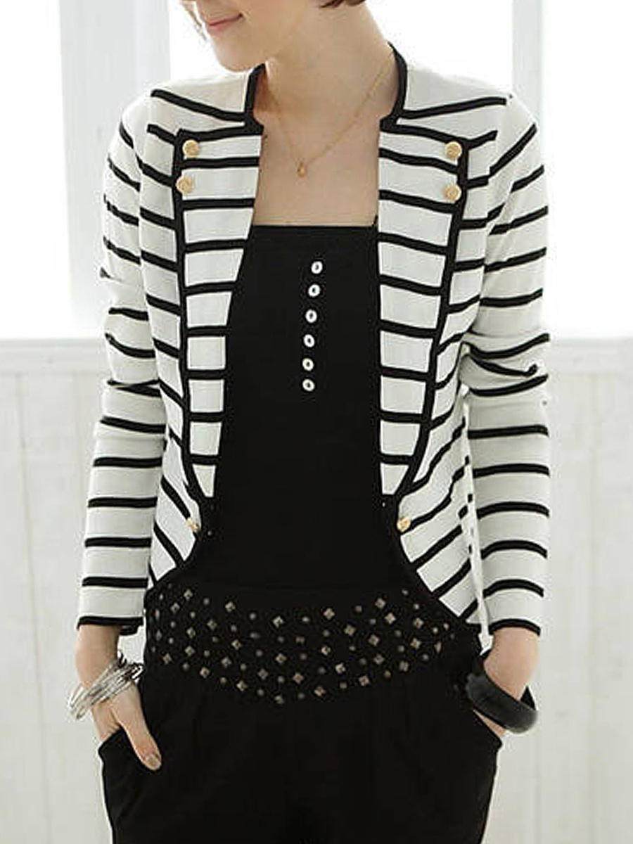 Fold-Over Collar  Striped Blazers
