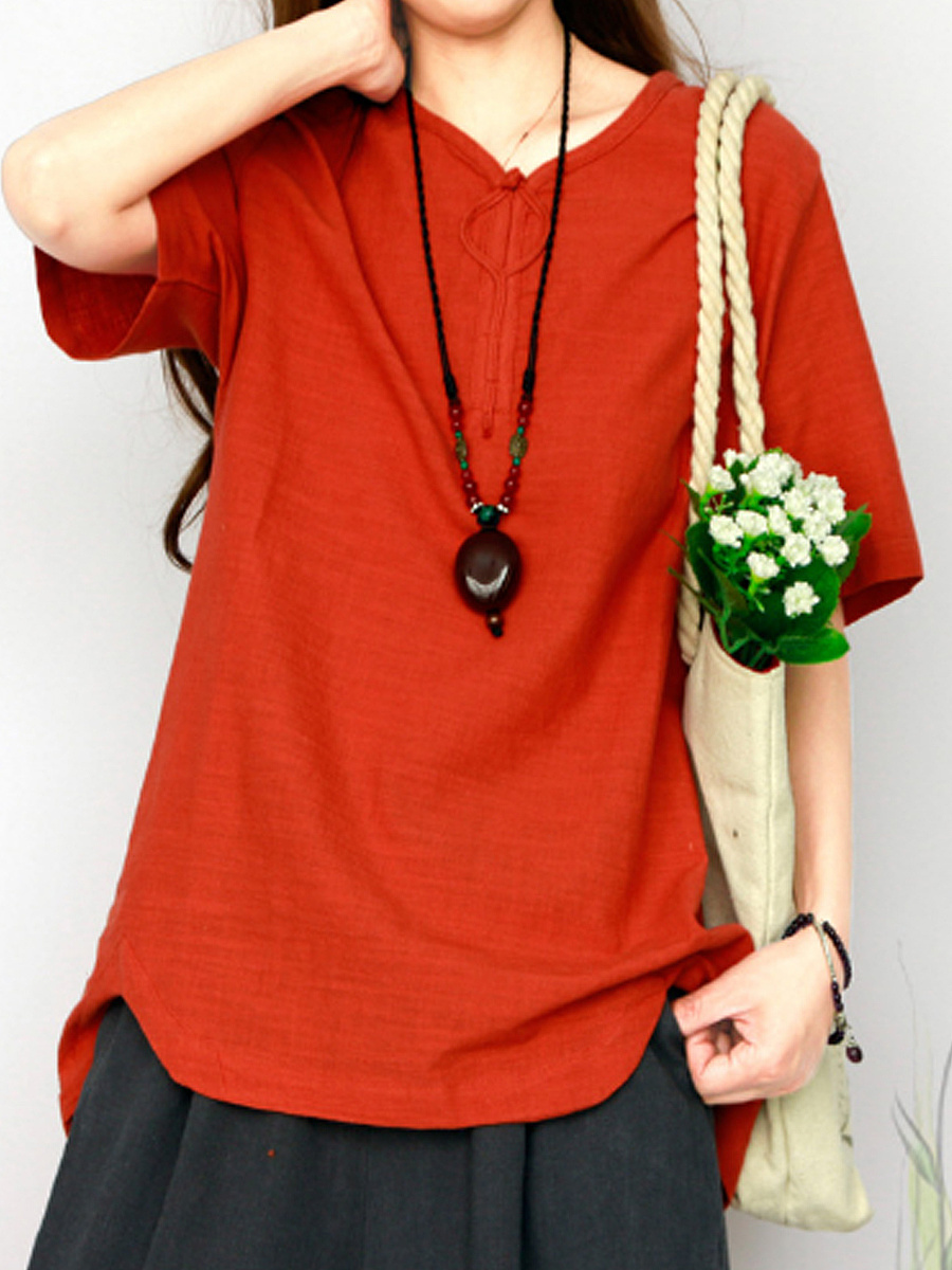 Autumn Spring Summer  Cotton  Women  Round Neck  Plain Blouses