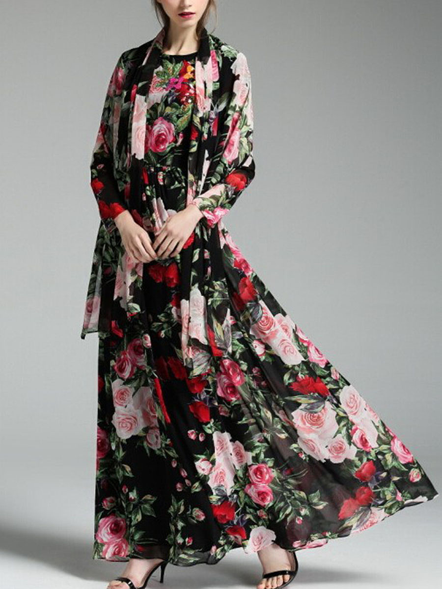 Round Neck Floral Printed Chiffon Scarf Maxi Dress