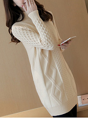 High Neck  Geometric Pullover