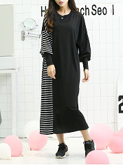 Round Neck  Patchwork  Color Block Plus Size Midi & Maxi Dress