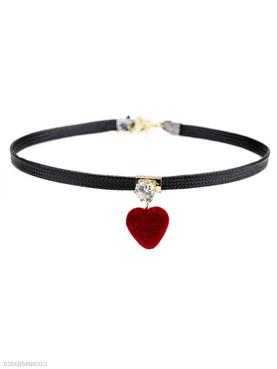 Velvet Red Heart Choker