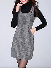 Boat Neck  Decorative Buttons Patch Pocket  Houndstooth Bodycon Dress