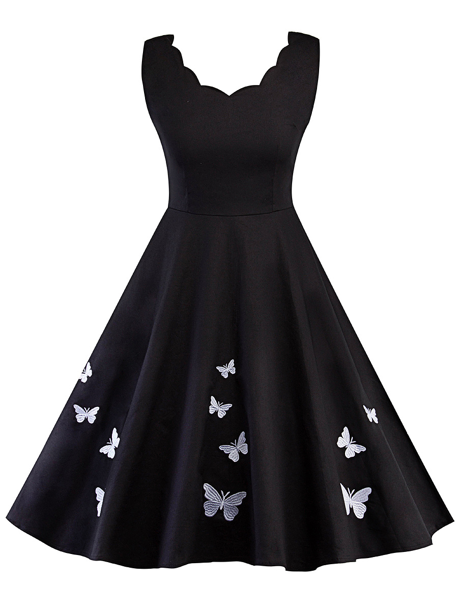 Scallop Neck Butterfly Embroidery Skater Dress