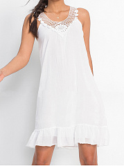 V-Neck  Decorative Lace Patchwork  Plain Shift Dress