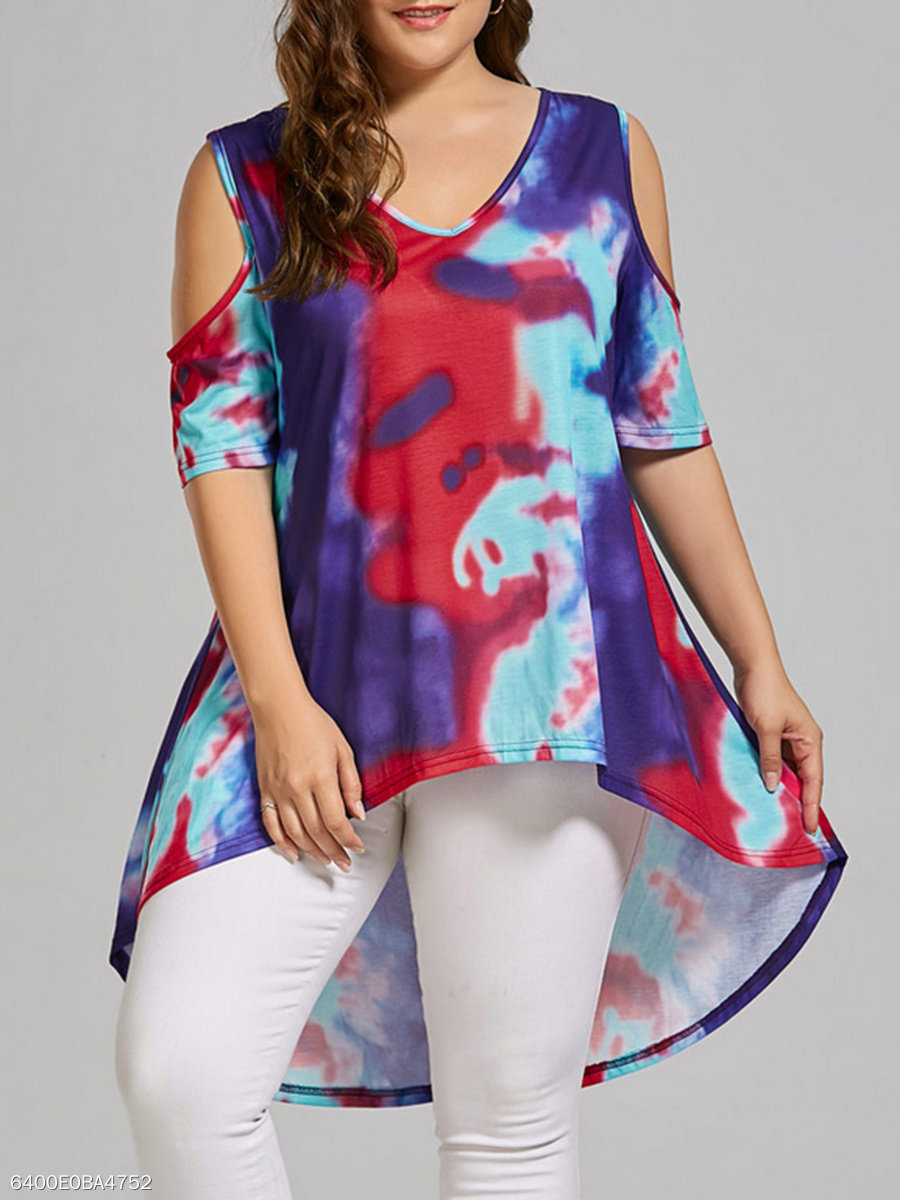 V-Neck  Abstract Print  Short Sleeve Plus Size T-Shirts