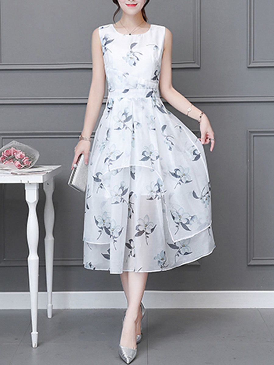 Round Neck Floral Hollow Out Chiffon Maxi Dress