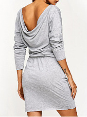 One Shoulder  Belt  Plain Shift Dress
