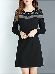 Round Neck  Bust Darts  Color Block Colouring Lace Bodycon Dress