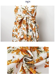 Spaghetti Strap Bowknot Flounce Floral Printed Skater Dress
