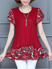 Round-Neck-Patchwork-Fake-Two-Piece-Floral-Petal-Sleeve-Short-Sleeve-T-Shirts