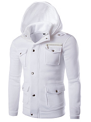 Hooded  Flap Pocket  Plain Men Coat