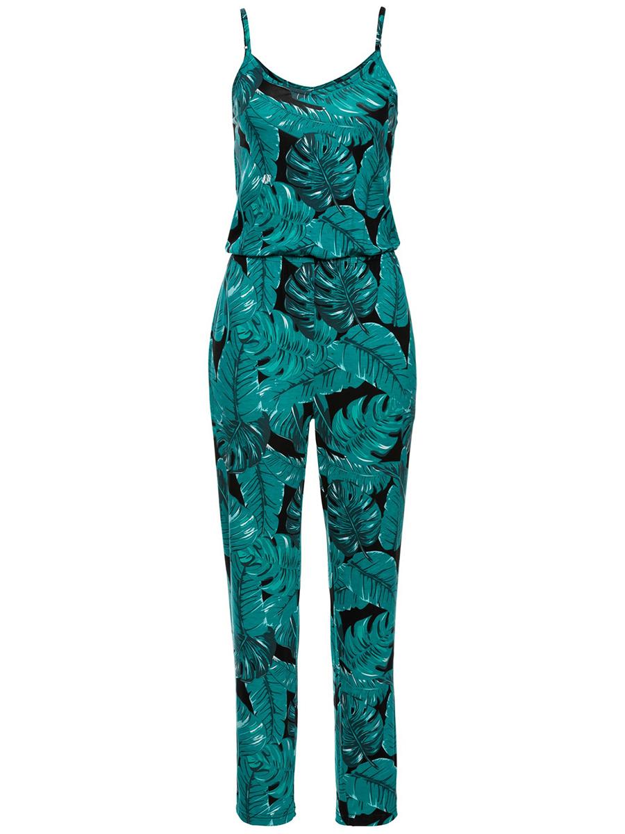 Tropical Palm Printed Spaghetti Strap Slim-Leg Jumpsuit