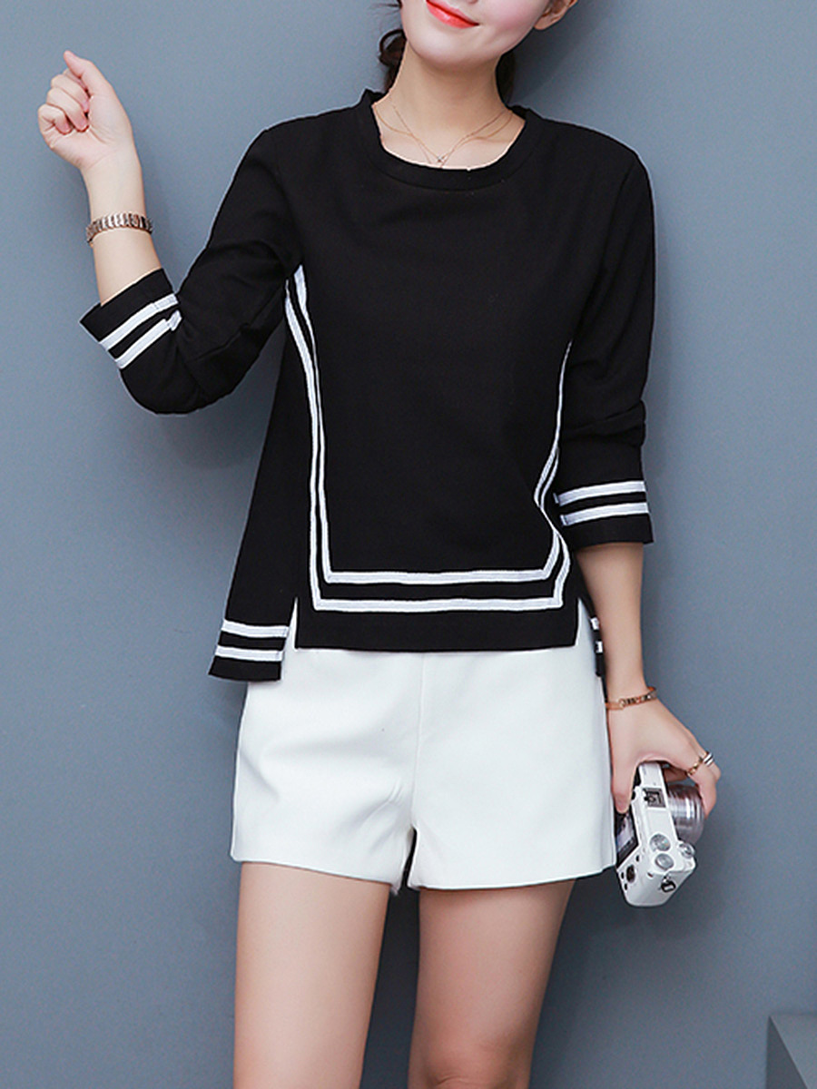 Round Neck  Vented  Striped Long Sleeve T-Shirt