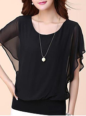 Round-Neck-Plain-Batwing-Sleeve-T-Shirt